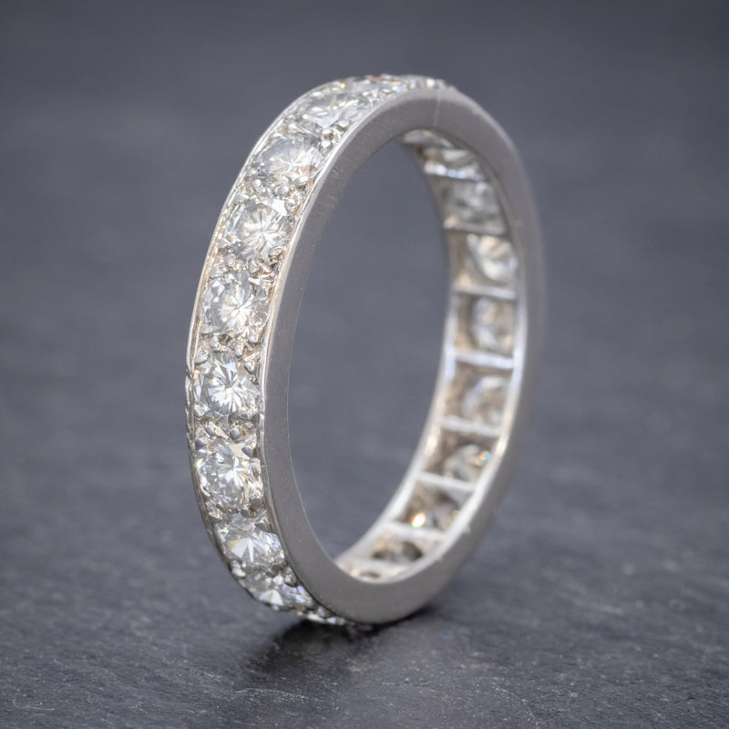 ANTIQUE EDWARDIAN FULL DIAMOND ETERNITY RING 18CT WHITE GOLD CIRCA 1910 STOOD