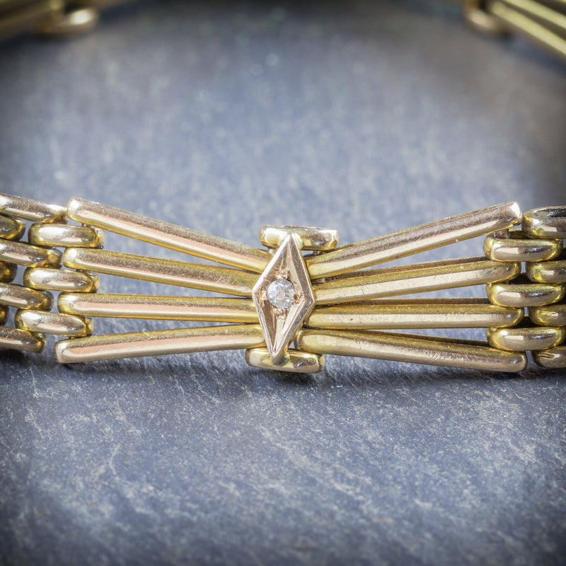 ANTIQUE EDWARDIAN GOLD AND DIAMOND BRACELET 18CT GOLD 1904 DIAMOND