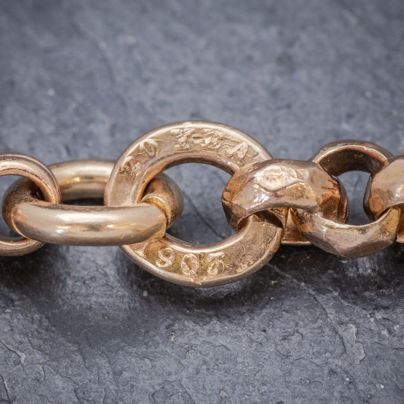 Antique Edwardian Gold Cased Belcher Guard Chain Dated 1903 stamps