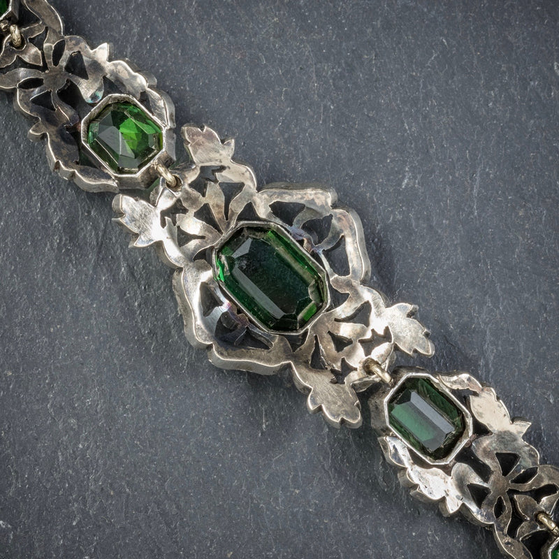 Antique Edwardian Green Tourmaline Diamond Bracelet Silver Circa 1910 REVERSE