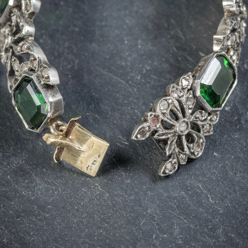 Antique Edwardian Green Tourmaline Diamond Bracelet Silver Circa 1910 CLASP