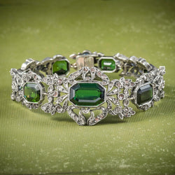 Antique Edwardian Green Tourmaline Diamond Bracelet Silver Circa 1910 COVER