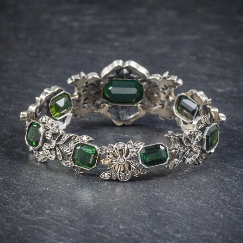 Antique Edwardian Green Tourmaline Diamond Bracelet Silver Circa 1910 BACK