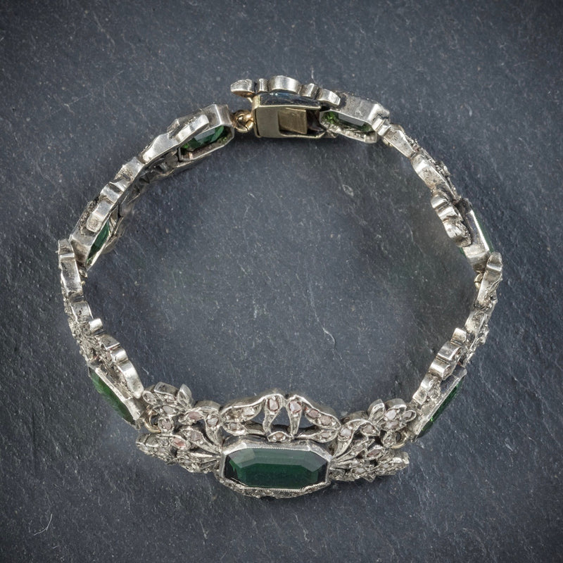 Antique Edwardian Green Tourmaline Diamond Bracelet Silver Circa 1910 TOP