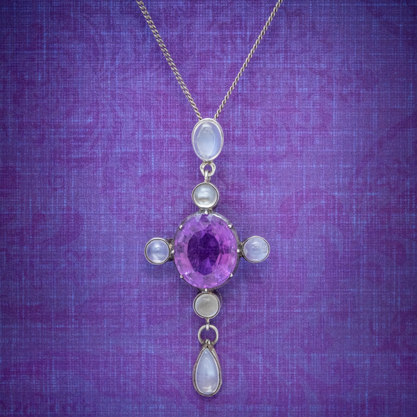 Antique Edwardian Moonstone Amethyst Pendant Necklace Silver Circa 1910 COVER