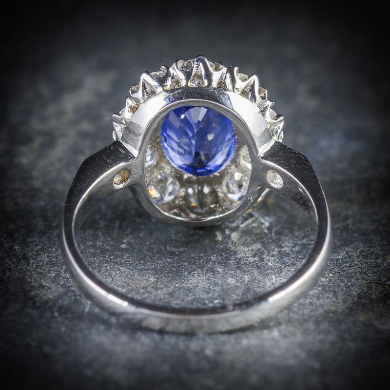 ANTIQUE EDWARDIAN NATURAL SAPPHIRE DIAMOND RING PLATINUM CIRCA 1910 BACK