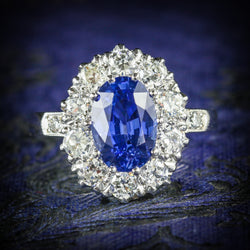 ANTIQUE EDWARDIAN NATURAL SAPPHIRE DIAMOND RING PLATINUM CIRCA 1910 COVER
