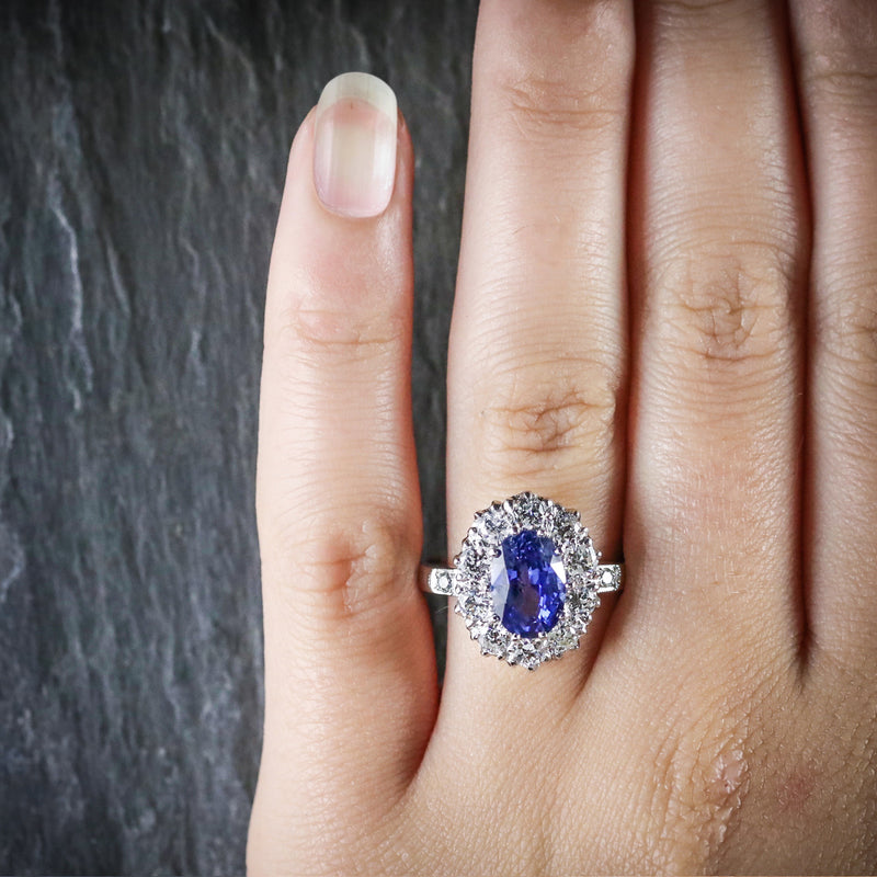 ANTIQUE EDWARDIAN NATURAL SAPPHIRE DIAMOND RING PLATINUM CIRCA 1910  HAND