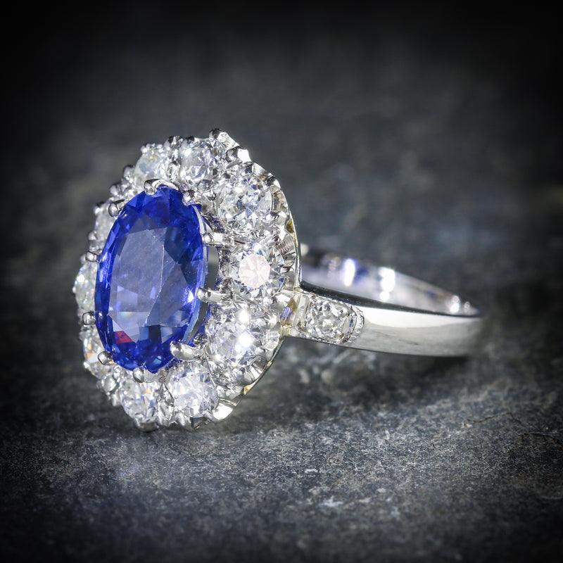 ANTIQUE EDWARDIAN NATURAL SAPPHIRE DIAMOND RING PLATINUM CIRCA 1910 SIDE