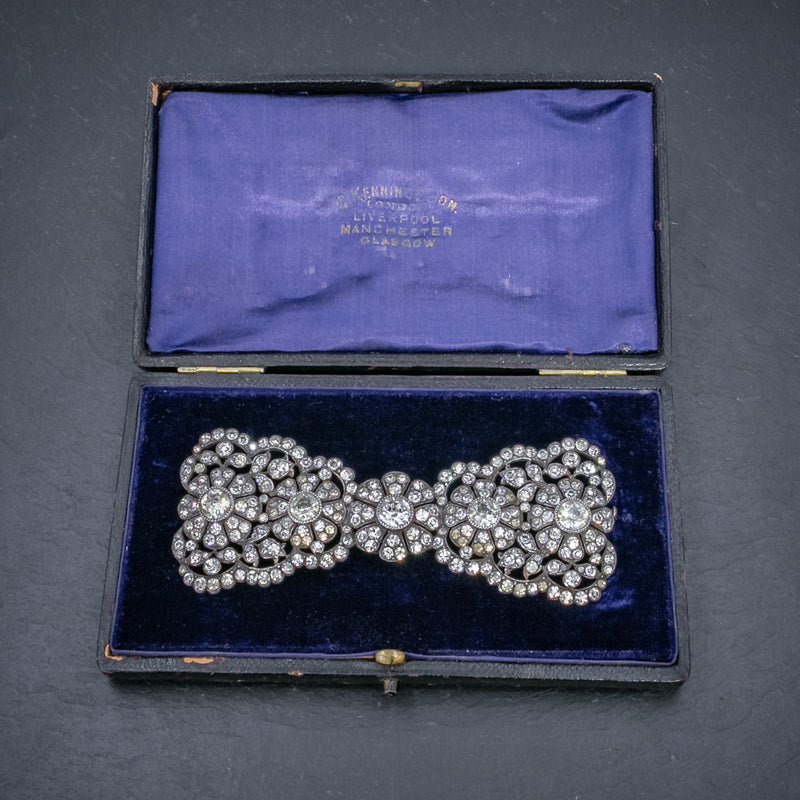 ANTIQUE EDWARDIAN PASTE BOW BROOCH SILVER CIRCA 1905 BOXED OPEN