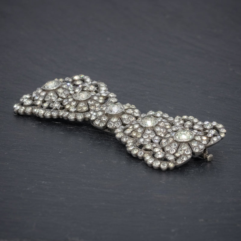 ANTIQUE EDWARDIAN PASTE BOW BROOCH SILVER CIRCA 1905 BOXED SIDE