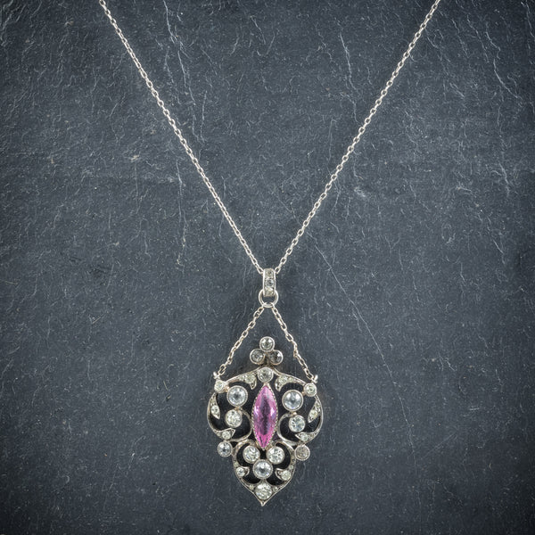 Antique Edwardian Paste Pendant Necklace Silver Circa 1915