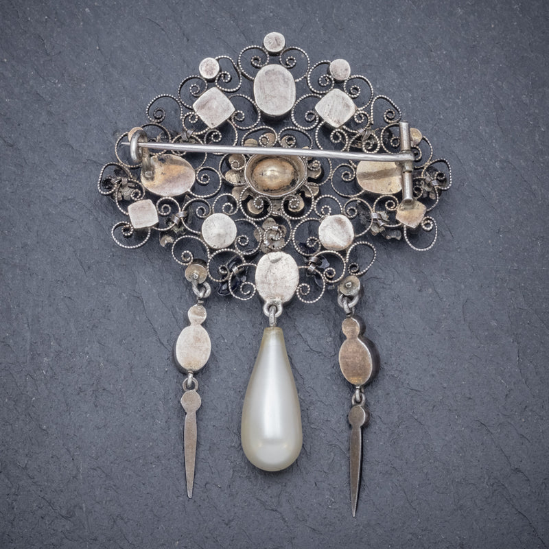 ANTIQUE EDWARDIAN PASTE PEARL SUFFRAGETTE BROOCH SILVER CIRCA 1910 BACK