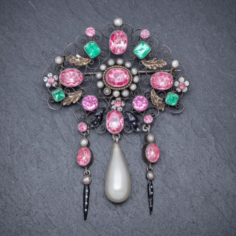 ANTIQUE EDWARDIAN PASTE PEARL SUFFRAGETTE BROOCH SILVER CIRCA 1910 FRONT