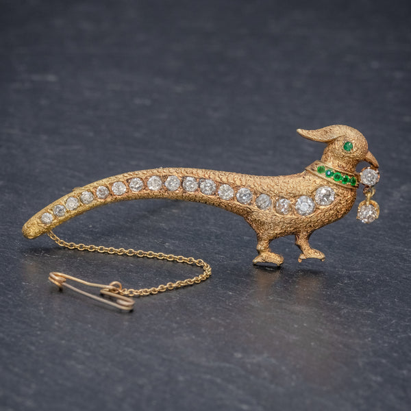 ANTIQUE EDWARDIAN PEACOCK BROOCH DIAMOND EMERALD 18CT GOLD CIRCA 1910  FRONT