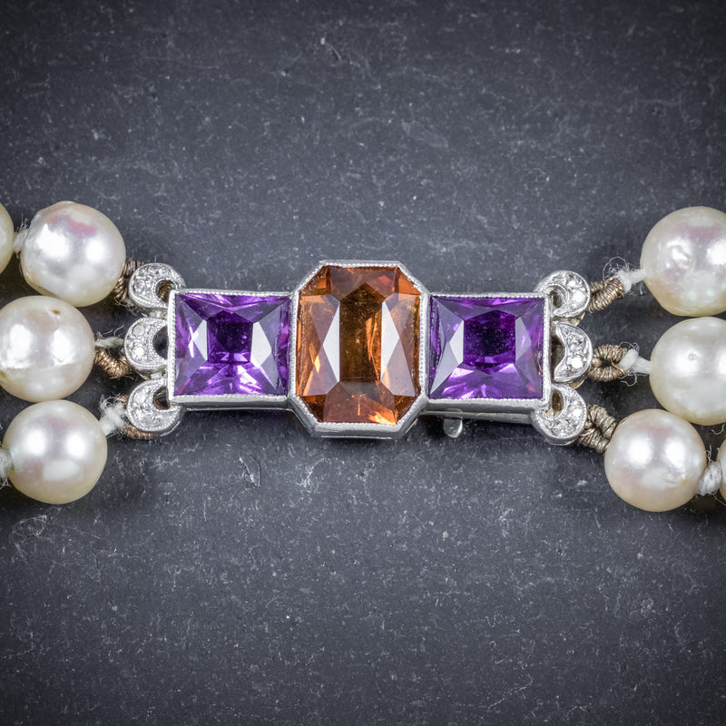 Antique Edwardian Pearl Necklace Diamond Citrine Amethyst Circa 1910 CLASP