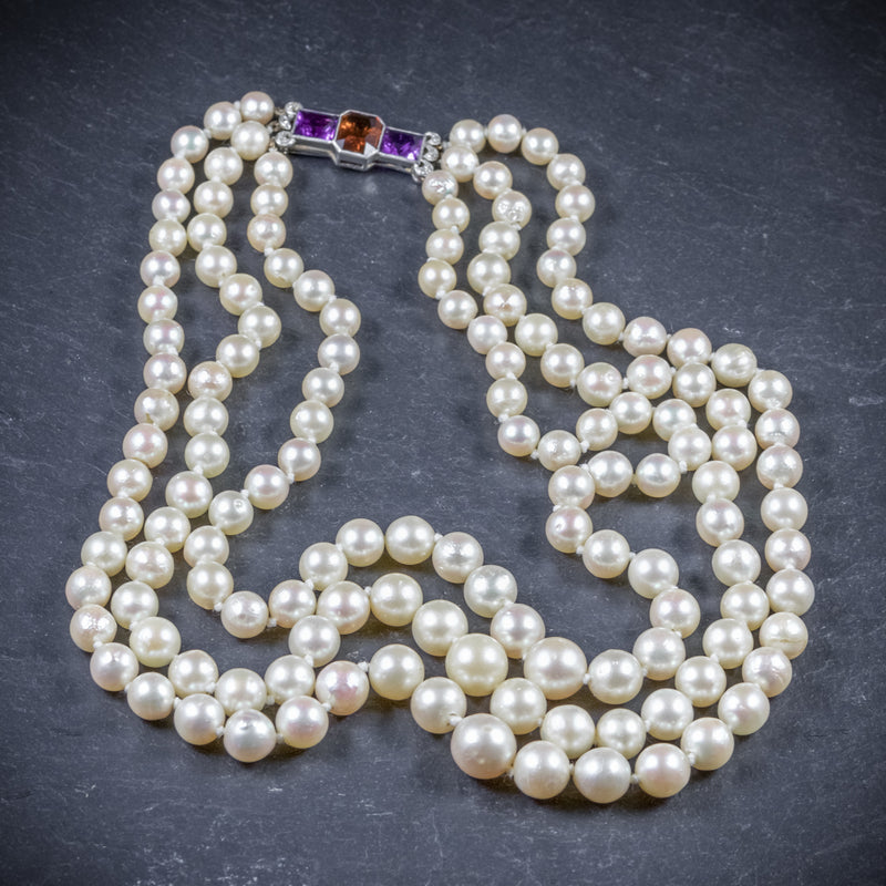 Antique Edwardian Pearl Necklace Diamond Citrine Amethyst Circa 1910 TOP