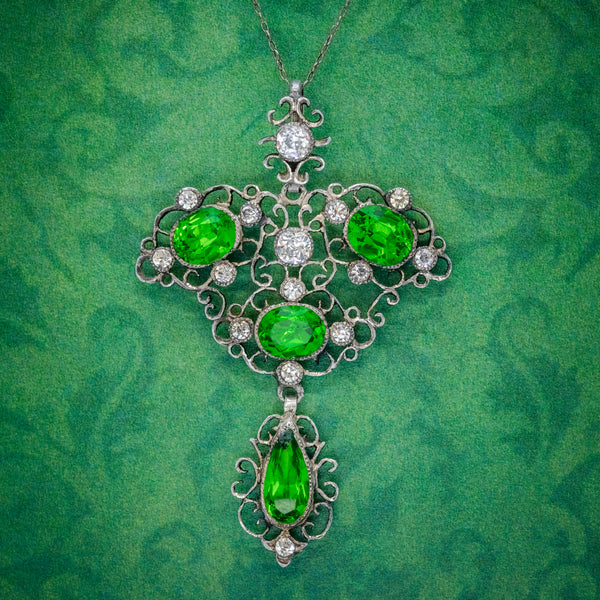 Antique Edwardian Pendant Necklace Green Paste Stone Silver Circa 1880 COVER