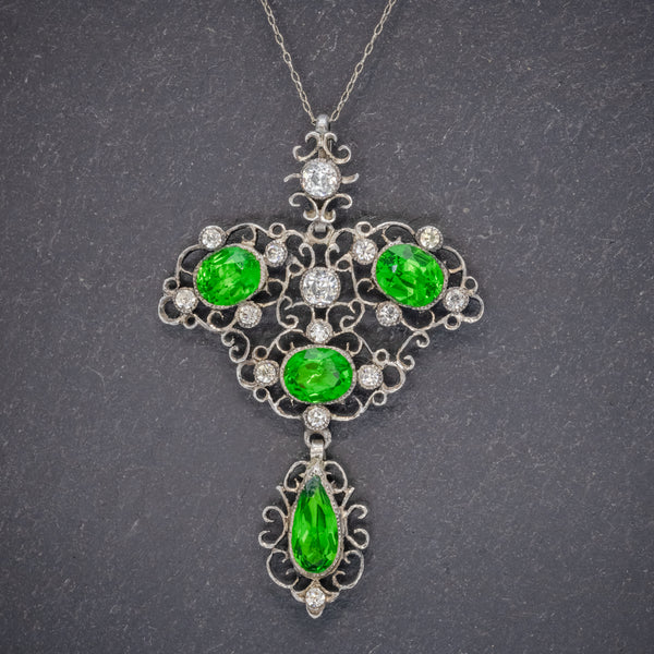 Antique Edwardian Pendant Necklace Green Paste Stone Silver Circa 1880 FRONT