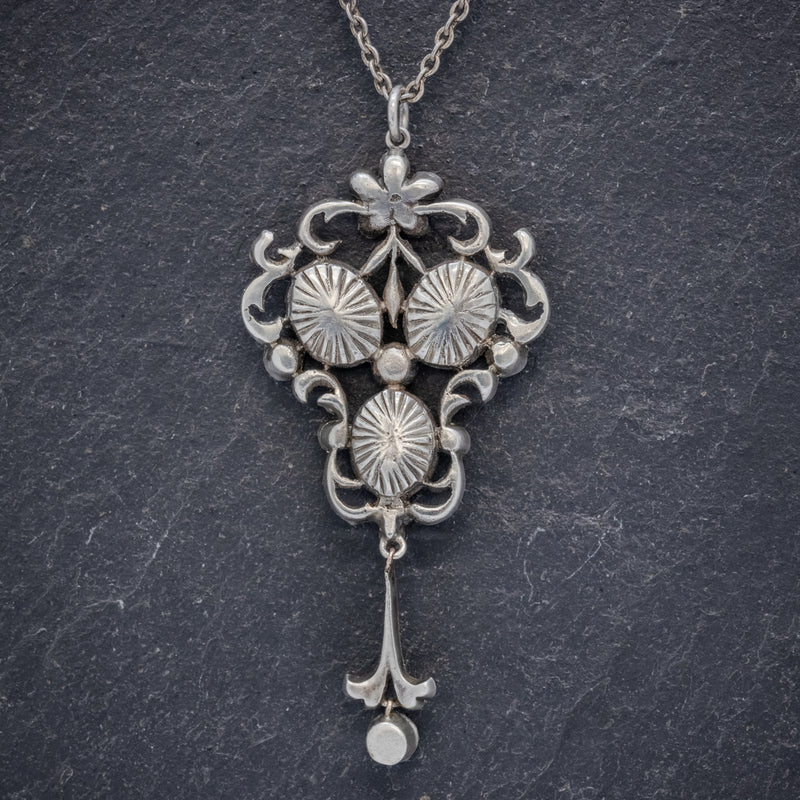 ANTIQUE EDWARDIAN PENDANT NECKLACE PASTE STONE SILVER CIRCA 1910 BACK