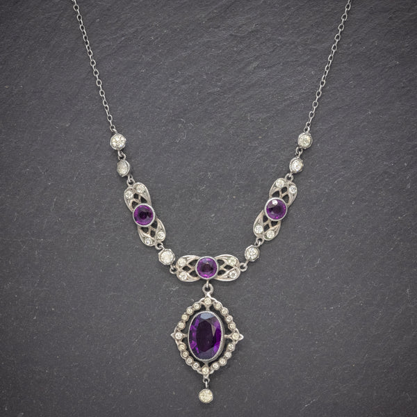 Antique Edwardian Purple Paste Stone Lavaliere Necklace Silver Circa 1910 front