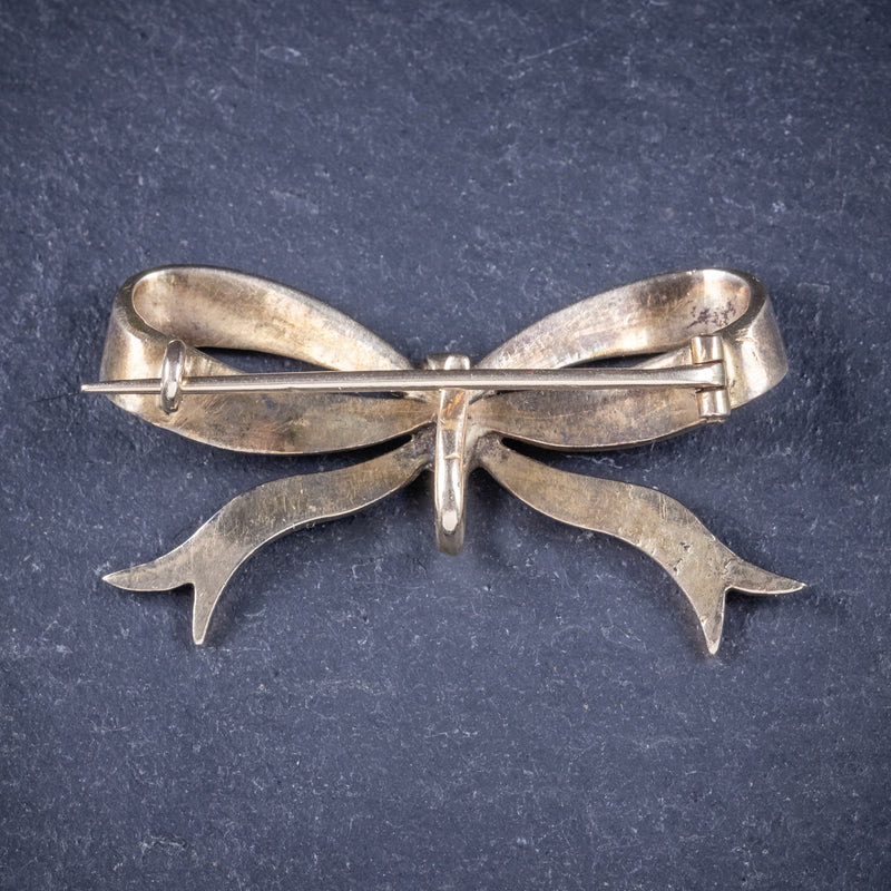 Antique Edwardian Rose Cut Diamond Bow Brooch 18ct Gold Circa 1910 Boxed back
