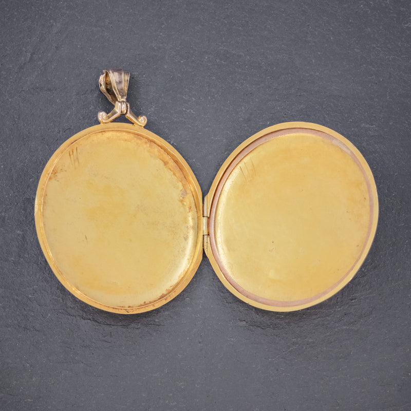 ANTIQUE EDWARDIAN ROUND FORGET ME NOT LOCKET 9CT GOLD DATED 1910 OPEN