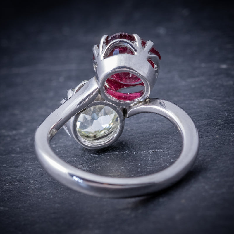 Antique Edwardian Ruby Diamond Twist Ring Platinum Circa 1915 BACK
