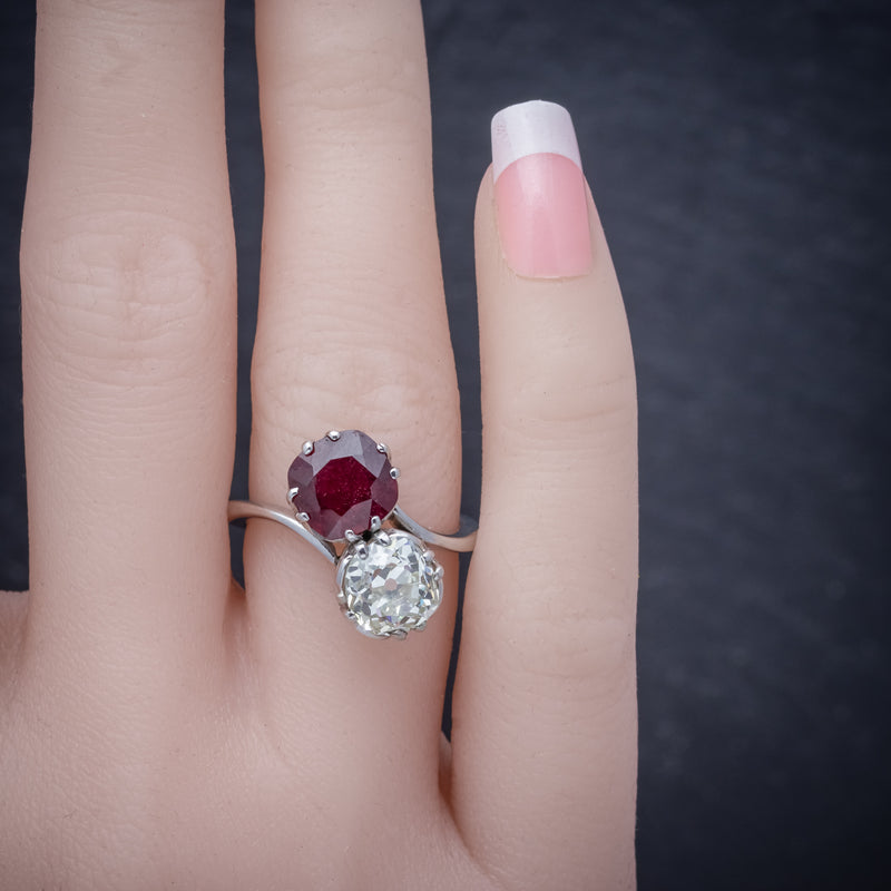 Antique Edwardian Ruby Diamond Twist Ring Platinum Circa 1915 COVER
