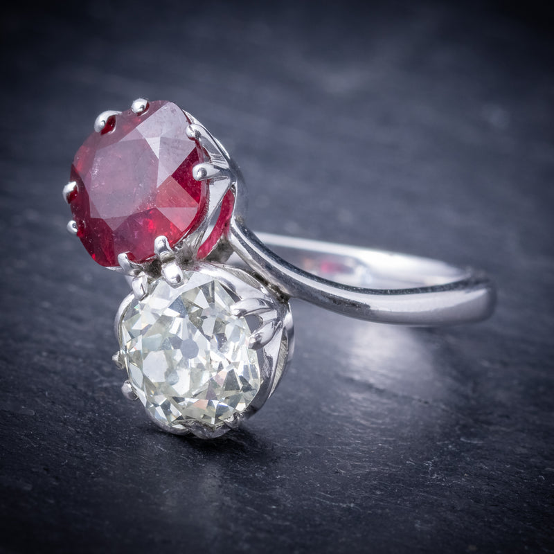 Antique Edwardian Ruby Diamond Twist Ring Platinum Circa 1915 SIDE
