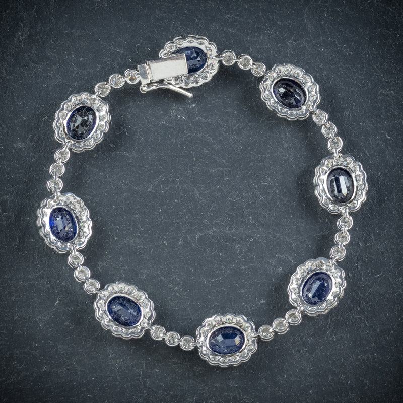 Antique Edwardian Sapphire Diamond Bracelet 18ct Gold Circa 1910 back