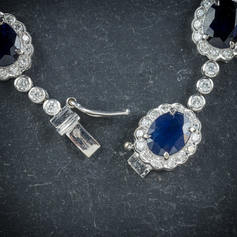 Antique Edwardian Sapphire Diamond Bracelet 18ct Gold Circa 1910 clasp