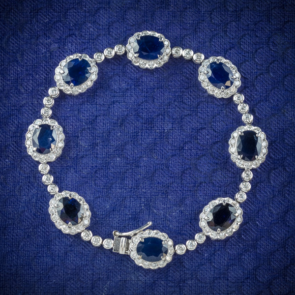 Antique Edwardian Sapphire Diamond Bracelet 18ct Gold Circa 1910 cover