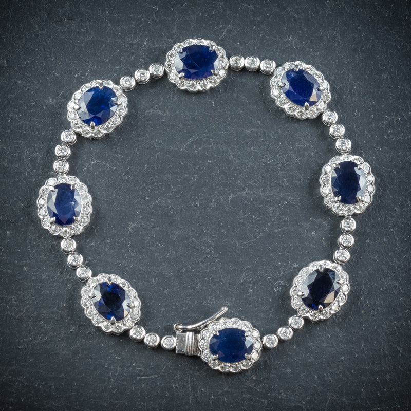 Antique Edwardian Sapphire Diamond Bracelet 18ct Gold Circa 1910 front