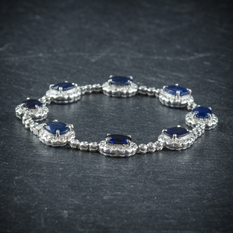 Antique Edwardian Sapphire Diamond Bracelet 18ct Gold Circa 1910 side