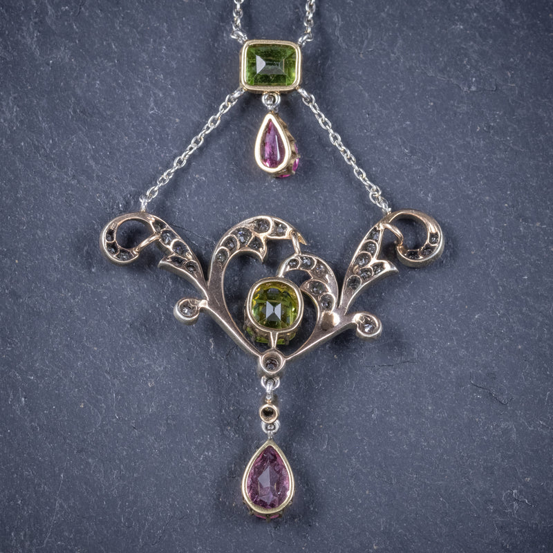 Antique Edwardian Suffragette Pendant Necklace Diamond Peridot Spinel Platinum Circa 1915 back