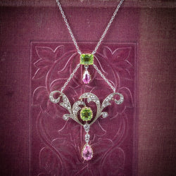 Antique Edwardian Suffragette Pendant Necklace Diamond Peridot Spinel Platinum Circa 1915 cover