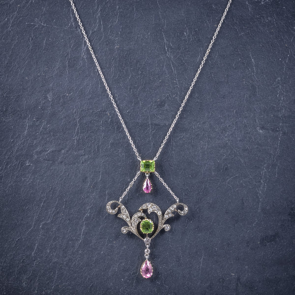 Antique Edwardian Suffragette Pendant Necklace Diamond Peridot Spinel Platinum Circa 1915 neck