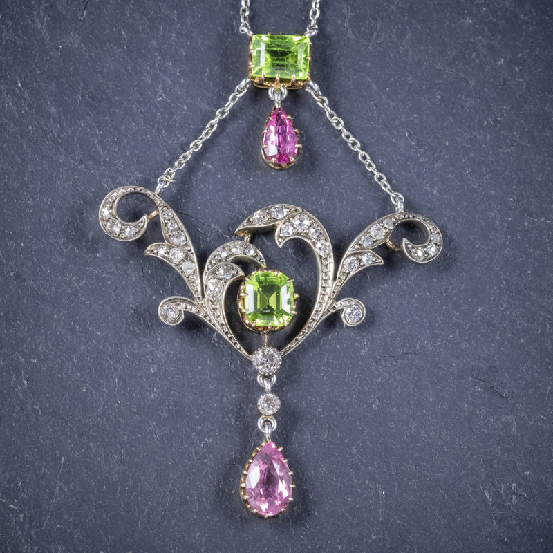 Antique Edwardian Suffragette Pendant Necklace Diamond Peridot Spinel Platinum Circa 1915 pendant