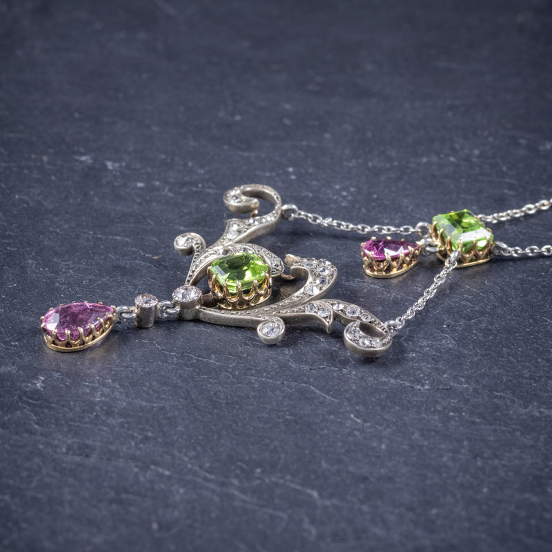 Antique Edwardian Suffragette Pendant Necklace Diamond Peridot Spinel Platinum Circa 1915 side
