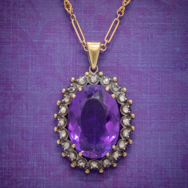 ANTIQUE FRENCH 20CT AMETHYST DIAMOND PENDANT NECKLACE 18CT GOLD SILVER CIRCA 1900 COVER