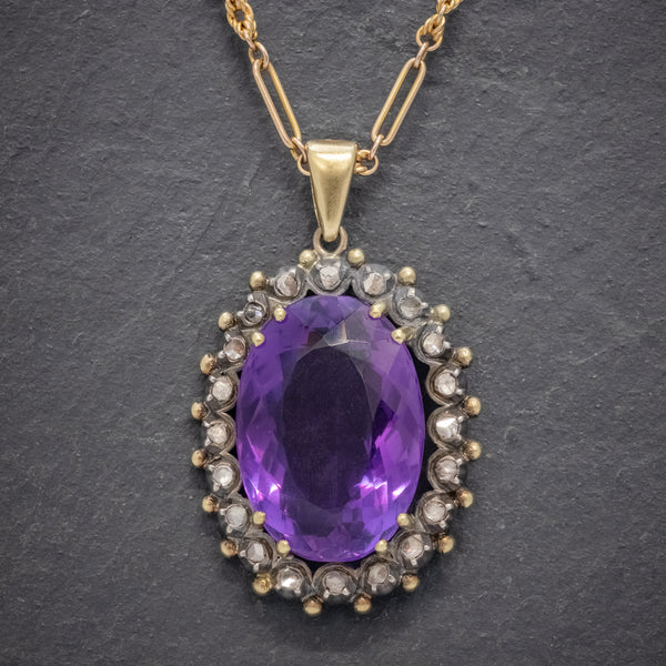 ANTIQUE FRENCH 20CT AMETHYST DIAMOND PENDANT NECKLACE 18CT GOLD SILVER CIRCA 1900 FRONT