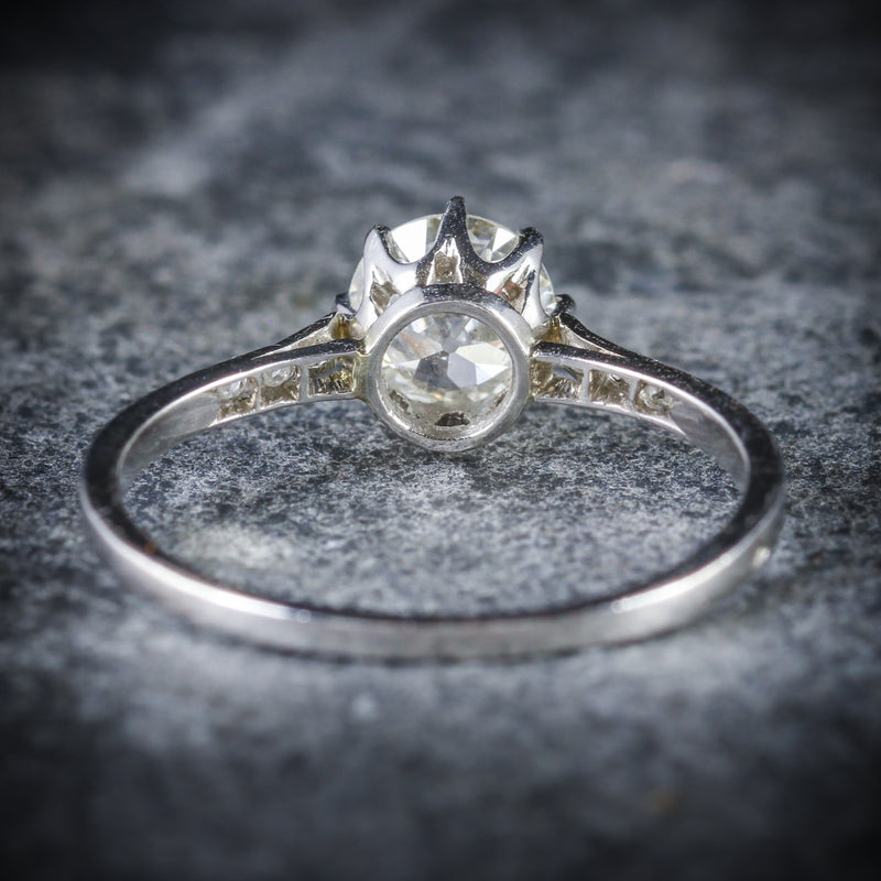 ANTIQUE FRENCH DIAMOND SOLITAIRE RING 18CT WHITE GOLD CIRCA 1915 BACK