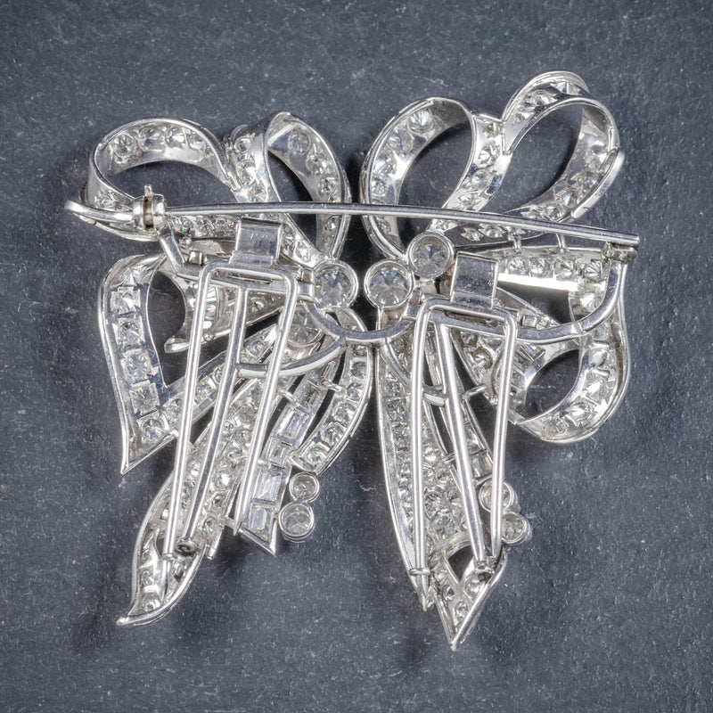 Antique French Edwardian 15ct Diamond Double Clip Brooch Platinum Circa 1915 back