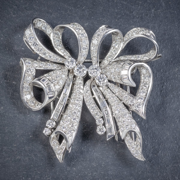Antique French Edwardian 15ct Diamond Double Clip Brooch Platinum Circa 1915 front