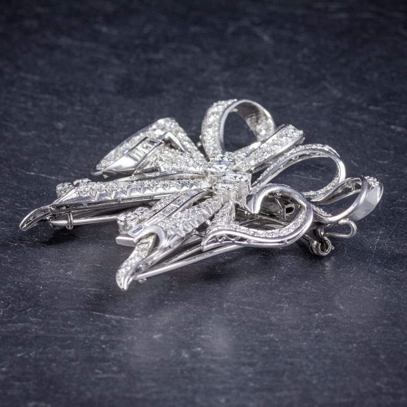 Antique French Edwardian 15ct Diamond Double Clip Brooch Platinum Circa 1915 side