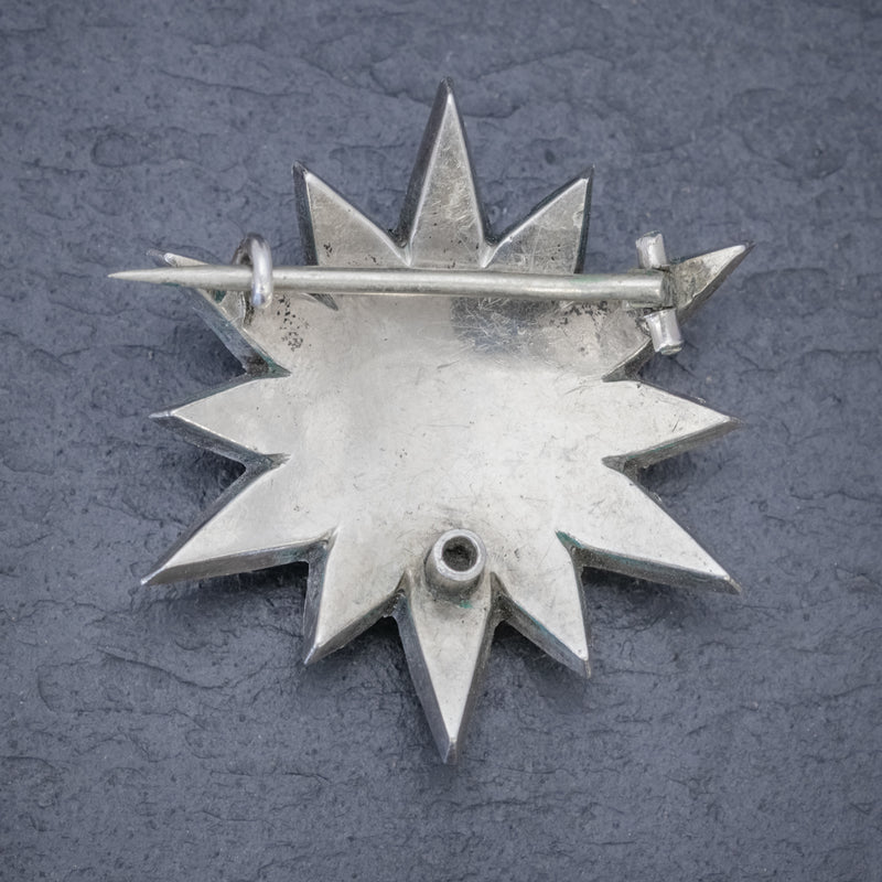 Antique French Paste Star Brooch Silver Circa 1890 BACK