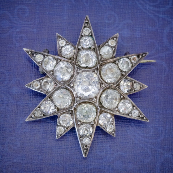 Antique French Paste Star Brooch Silver Circa 1890 COVER