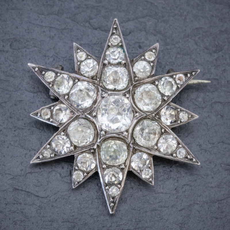 Antique French Paste Star Brooch Silver Circa 1890 FRONT