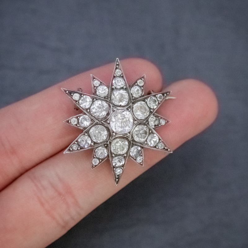 Antique French Paste Star Brooch Silver Circa 1890 HAND